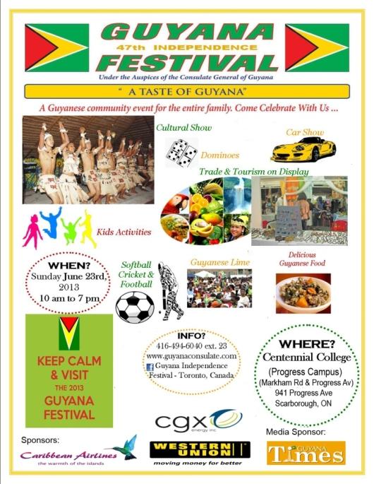 2013 Guyana Festival Flyer June 3