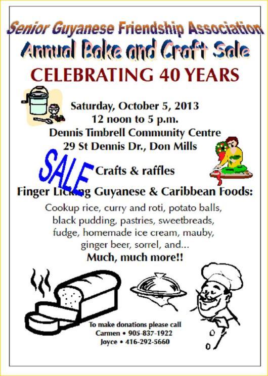 Senior Guyanese Friendship Association Bazaar 2013