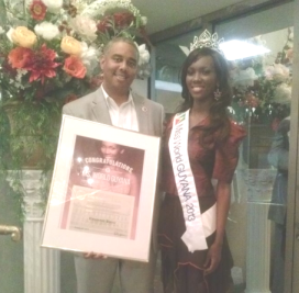 Miss World Guyana Ruqayyah Boyer was presented with the award by NYC Councilman Ruben Wills