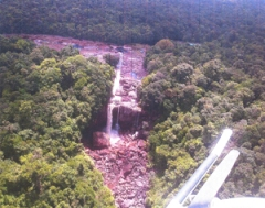 An overhead view of the dried out Amaila Falls