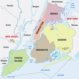 New York City Boroughs Map