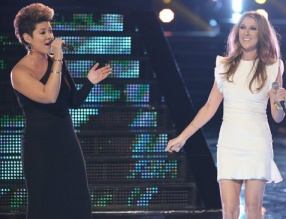 Chin, l, performing with legendary singer, Celine Dion on Dec. 17, 2013. (NBC TV image)