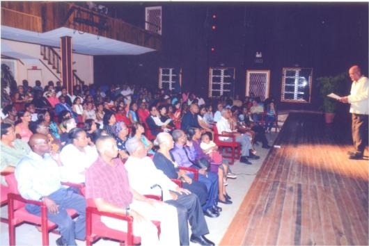 A section of the audience which packed the Theatre Guild Playhouse for the centenary of the Celebrated Guyanese poet.