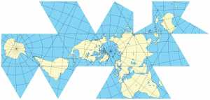 "Commons Buckminster Fuller's Dymaxion world map, which can be folded to make a regular 20-sided icosahedron (one of the five ""Platonic solids"")."