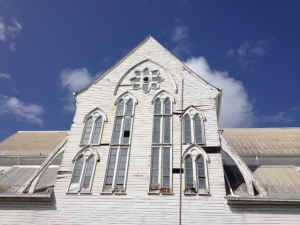 A section of the iconic St.  George's Cathedral in need of repairs.