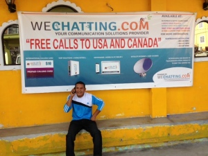 A Brazilian National making an over-seas phone call from this Robb and Cummings Streets location.