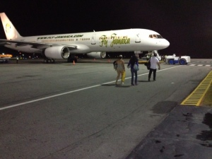 A Fly Jamaica jetliner at the Cheddi Jagan International Airport,Timehri.  (FQ Farrier photo)