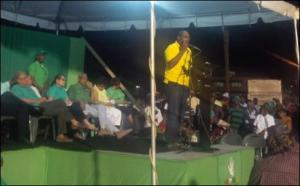 AFC Chairman, Nigel Hughes addressing an APNU rally at the Square of the Revolution Friday night. November 14, 2014