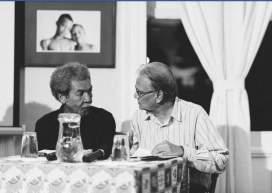 Stanley Greaves, Rupert Roopnaraine in conversation Photo by  Nikhil Ramkarran