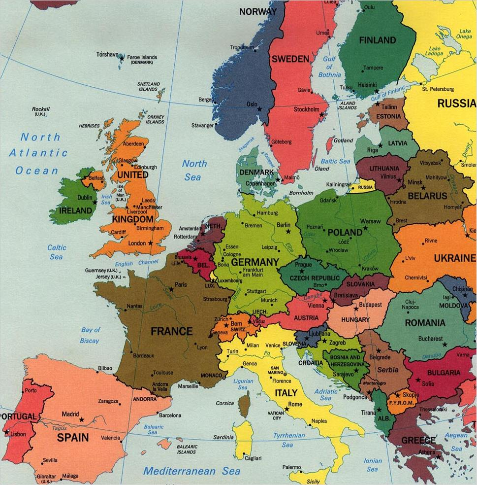 Nogo Areas Of European Cities Guyanese Online - Map of europe with cities