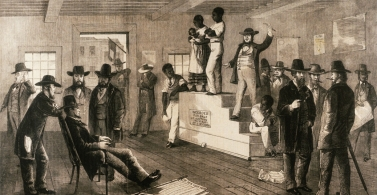 This illustration shows a slave auction taking place in Virginia, 1861.