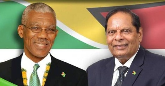 Executive President David Arthur Granger and Prime Minister Moses Nagamootoo - Guyana Elections 2015