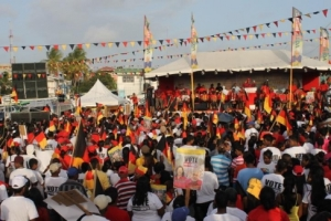 PPPC supporters at their party's rally held at the Lusignan, East Coast Demerara.