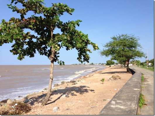 Blue Sky over the Georgetown Seawall and Shore - Guyana