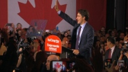 Justin Trudeau address crowd in Montreal