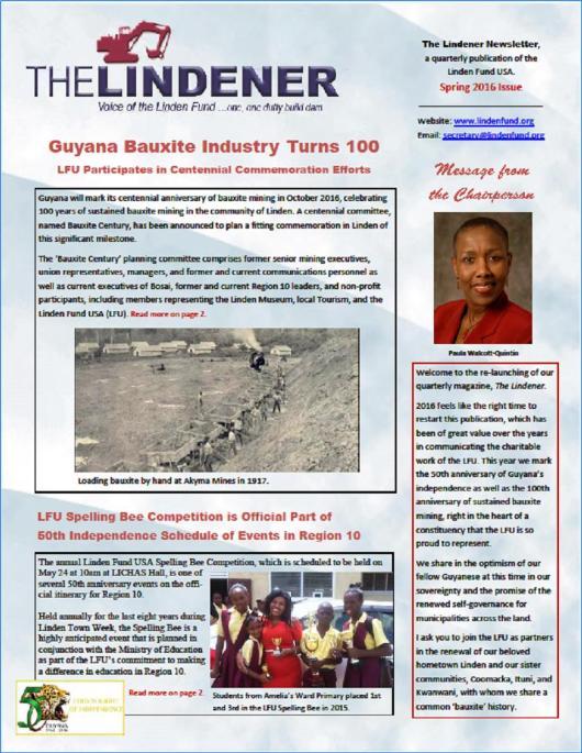 The Lindener - Voice of the Linden Fund - Spring 2016 Newsletter