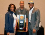 Brenda Neptune and Alex Neptune with son, Kyle Neptune, Villanova assistant coach with trophy after the thrilling win in Houston.