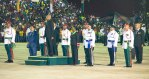 President David Granger takes the Presidential salute at the Golden Jubilee ceremony