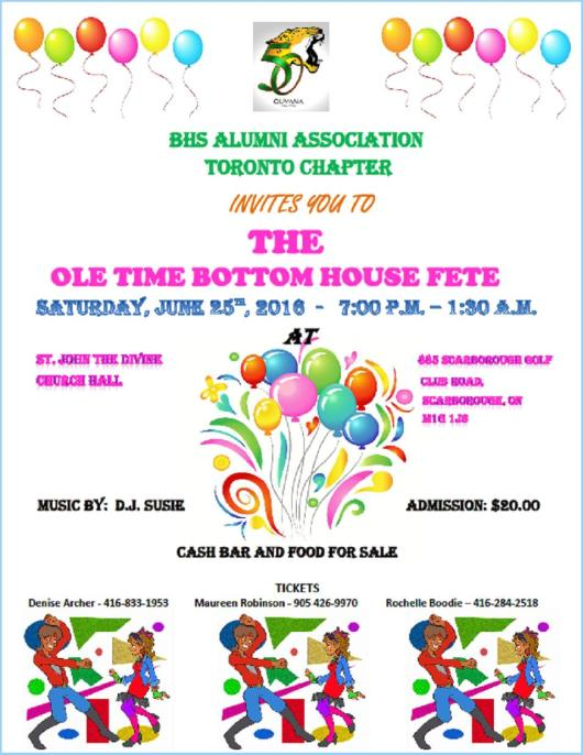 BHS Alumni - Toronto - Bottom House Fete June 25, 2016
