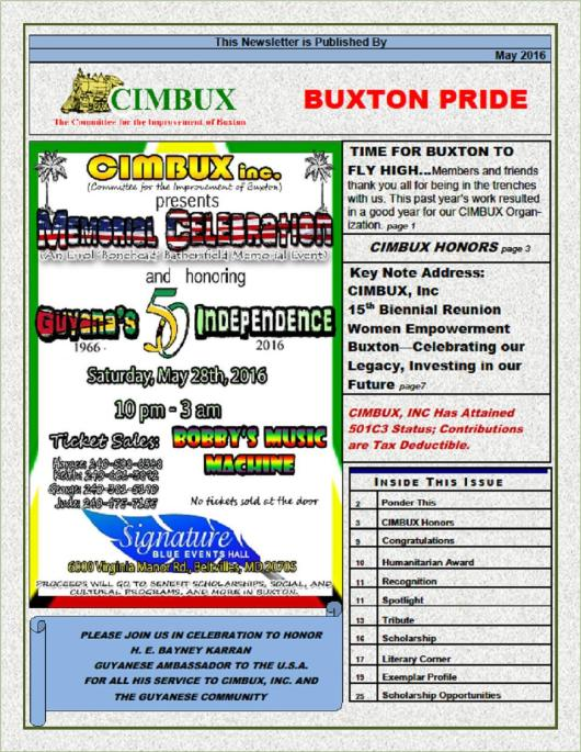 CIMBUX - Buxton Pride Newsletter - May 2016