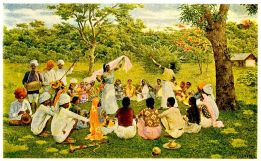 Indo-Caribbeans in the 19th century celebrating the Indian culture in West Indies