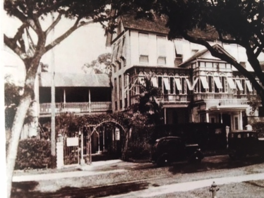 Georgetown's iconic wooden Hotel Tower in colonial British Guiana.
