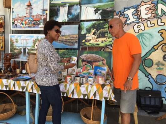 This popular Art and Craft vendor is outside the General Post Office near Main Street, Georgetown Guyana.