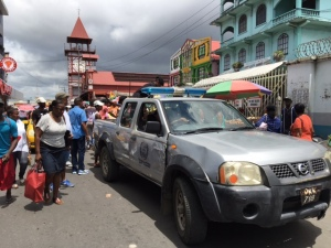 City Hall Pick-Up taken to transport perishable goods seized from Vendors in the Stabroek Market area in Georgetown in June 2016.