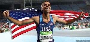 RIO DE JANEIRO, BRAZIL - AUGUST 20: Matthew Centrowitz of the United States celebrates after winning gold in the Men's 1500 meter Final on Day 15 of the Rio 2016 Olympic Games at the Olympic Stadium on August 20, 2016 in Rio de Janeiro, Brazil. (Photo by Ezra Shaw/Getty Images)