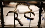 Slave shackles on display at the new National Museum of African American History and Culture in Washington.