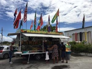 Mr Rahaman's flag-draped Fruits truck on East Street
