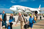 Travellers disembark at Barbados airport