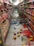 A strong earthquake on Tuesday knocked items from the shelves of a supermarket in Tobago (Photo by Elizabeth Williams)