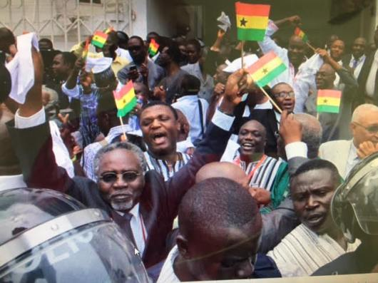 Ghanaians celebrating the victory of Nana Akufo-Addo, the new president of Ghana