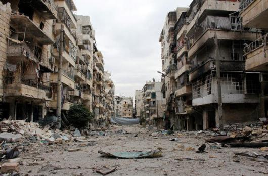 Bombed-out Street in Aleppo - Syria