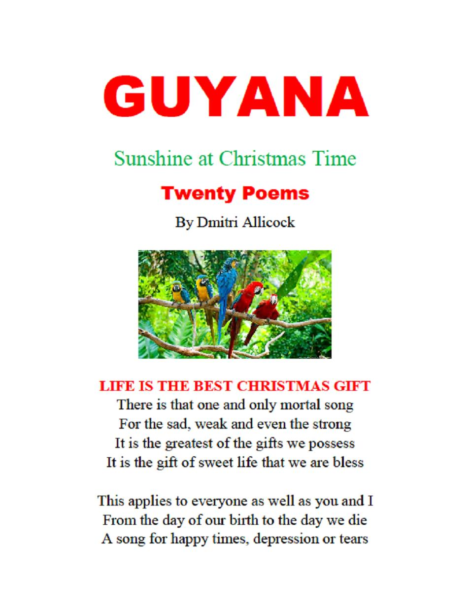 Poems About Christmas Time.Guyana Sunshine At Christmas Time 20 Poems By Dmitri