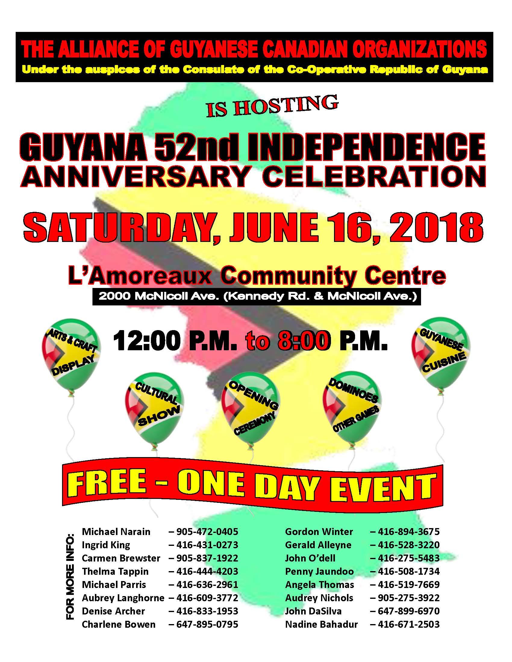 Alliance of Guyanese Canadian Organizations – Guyana's 52nd