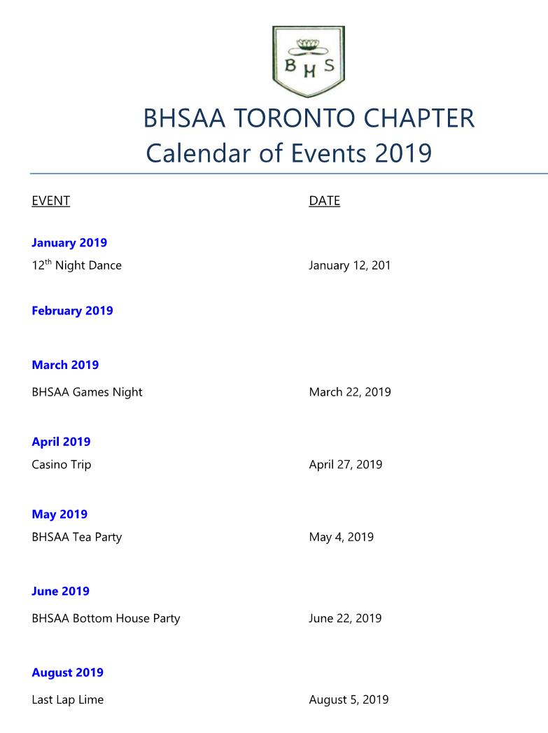 Bhs Calendar 2019 BHS Alumni Association – Toronto Chapter – Calendar of Events 2019