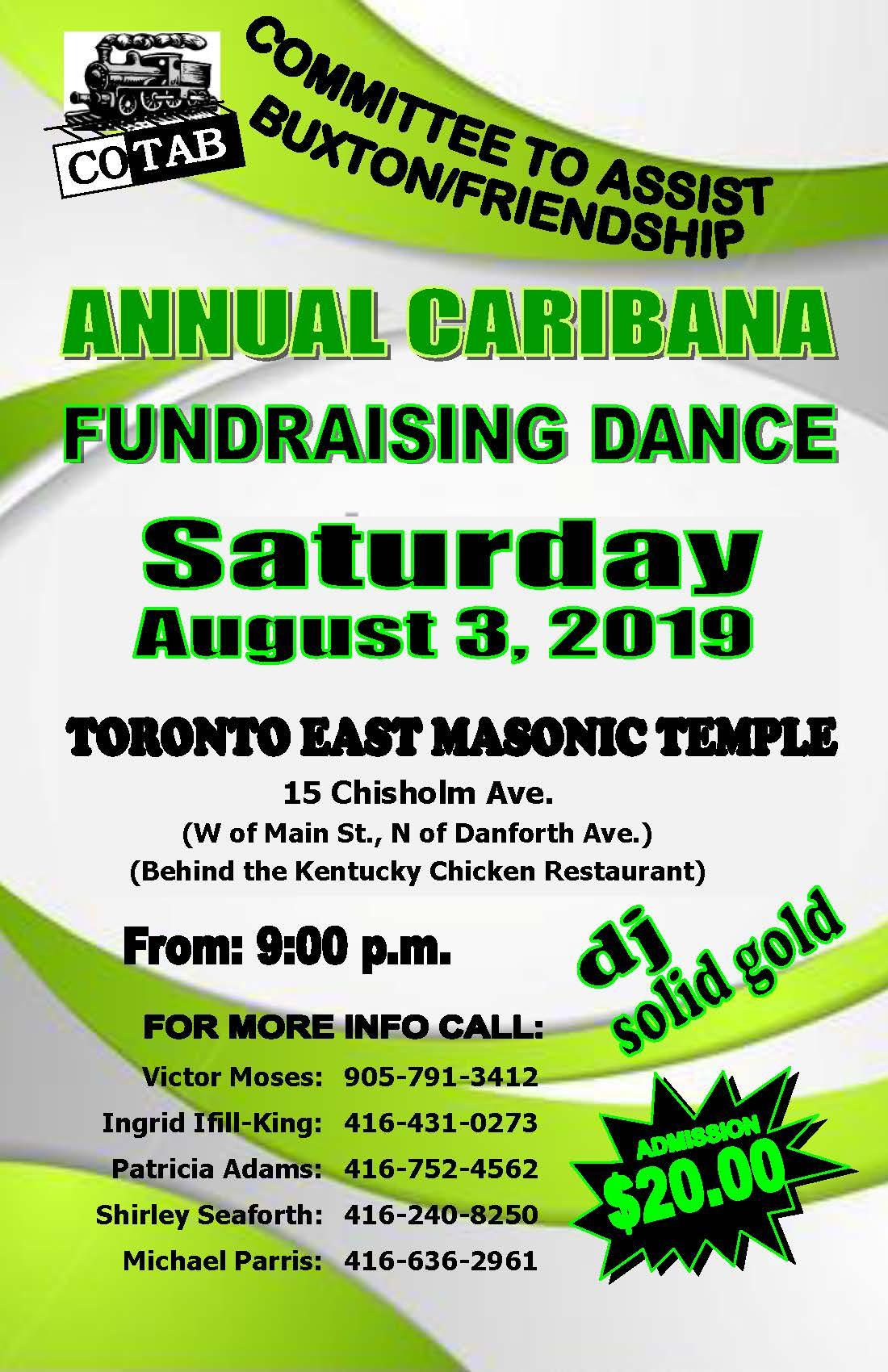 COTAB Annual Caribana Fundraising Dance – Toronto – August 3