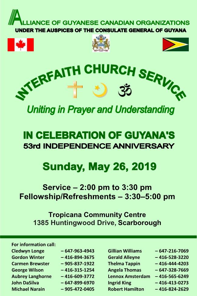 Alliance of Guyanese Canadian Organizations – Interfaith