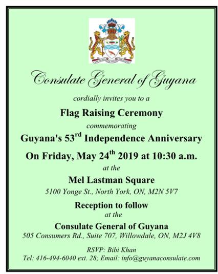 Guyana's 53rd Independence Anniversary: Flag Raising