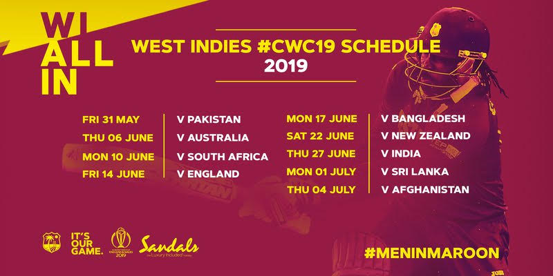sports west indies cricket world cup 2019 schedule player list