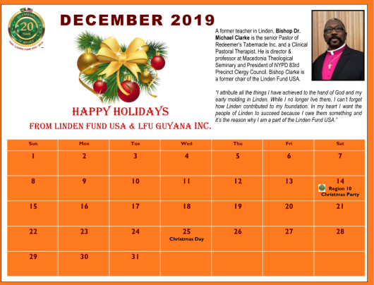 Linden Fund USA - December 2019 Calendar
